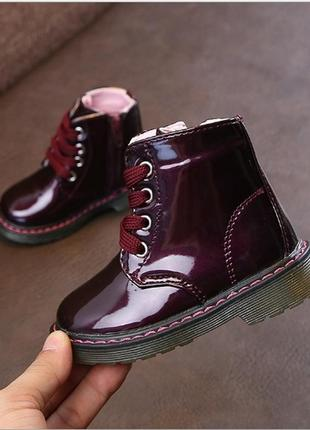 Ботинки деми лаковые модные для девочки
