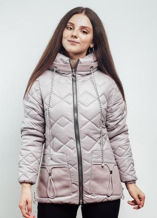 Нежно розовая осенняя куртка с кашемировыми вставками (44-54)