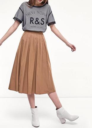 Расклешенная юбка миди демисезон, двустороння юбка за колено беж+розовый, размер с-м