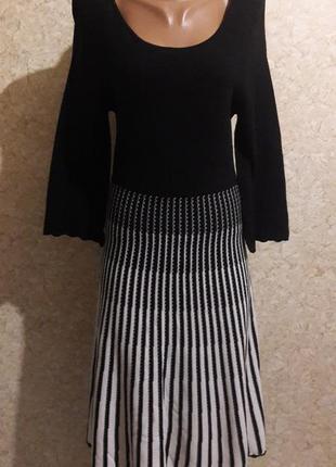 Акция -50% до 31.01 трикотажное платье с черным топом и расклешенной юбкой