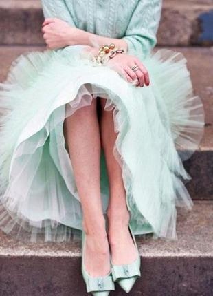 Мятная юбка с фатином хлопок