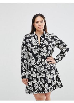 Платье рубашечного типа удлиненная рубашка туника с поясом принт