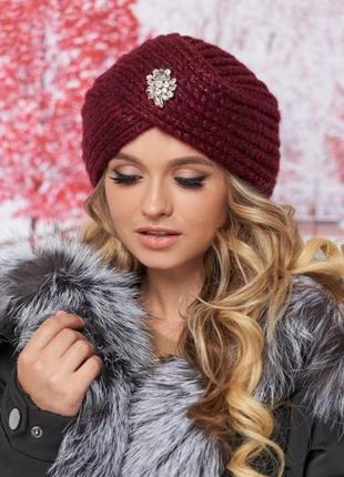 Стильная чалма зима, шапка-тюрбан, бордо