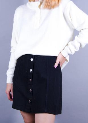Черная мини юбка, короткая джинсовая юбка, юбка трапеция на пуговицах