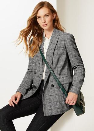 Тренд 2019 шерстяной двубортный пиджак в актуальную клетку принц уэльский marks&spencer