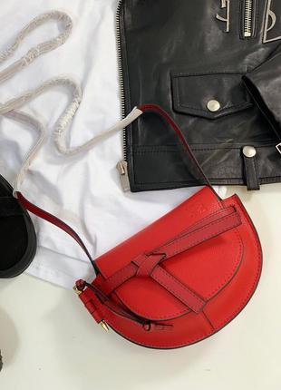 Сумка кожаная клатч кожаный сумочка женская красная
