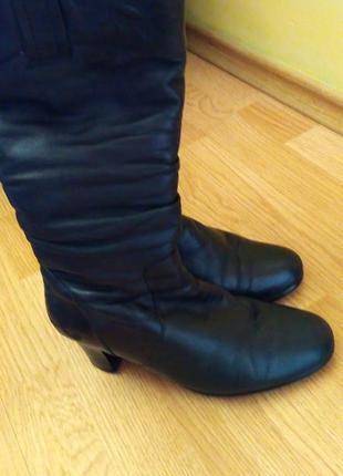 Шкіряні чоботи жіночі, сапоги женские кожаные, зимові, розмір 39