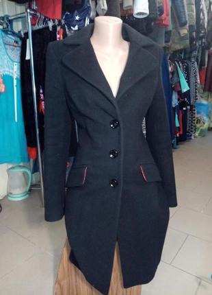 Кашемировое женское чёрное пальто италия stella polare р 40-42