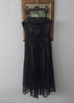 Легкое черное платье бюстье шифон на подкладке