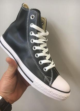 Кожаные кеды converse all star black leather high