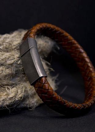 Кожаный плетеный браслет «bb»