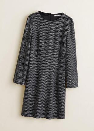 Mango платье с шерстью в елочку, m, l2 фото