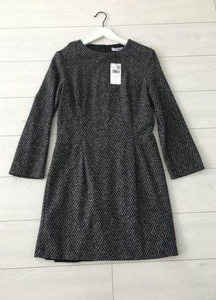 Mango платье с шерстью в елочку, m, l7 фото