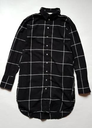 Стильная длинная рубашка с хлопка,удлиненная хлопковая рубашка,туника в клетку h&m