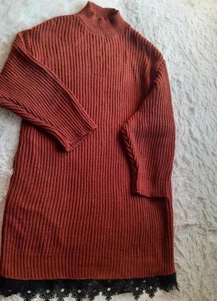 Очень теплое платье свитер оверсай