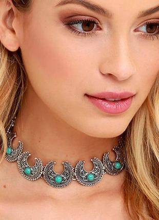 Колье ожерелье чокер  луна месяц с бирюзой в бохо этно стиле