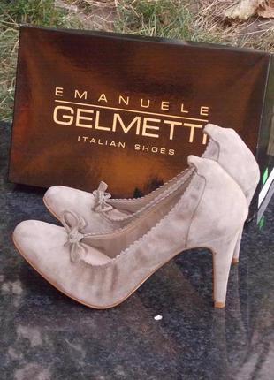 """Р.39 """"emanuele gelmetti"""" замшевые туфли на среднем каблуке"""