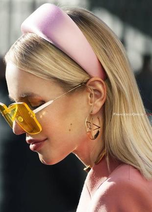 Ободок обруч повязка на волосы бархат бархатный объёмный розовый пудра новый качество