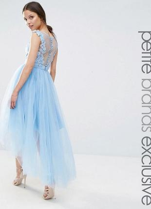 Платье миди с юбкой из тюля и фигурным кружевом сзади