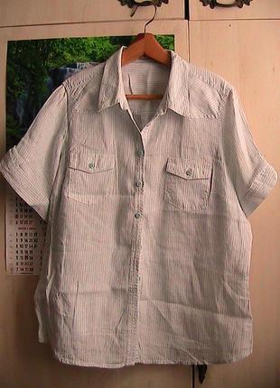 Рубашка лен 52-54р в полоску