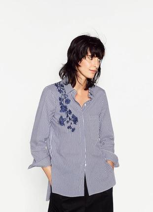 Невероятно красивая рубашка с вышивкой zara , в полоску