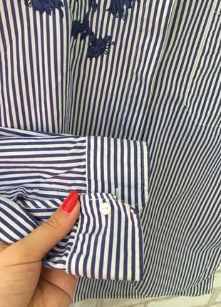 Невероятно красивая рубашка с вышивкой zara , в полоску3 фото