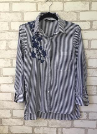 Невероятно красивая рубашка с вышивкой zara , в полоску4 фото