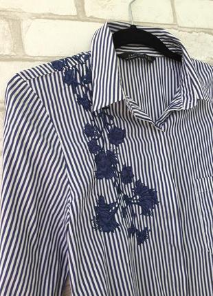 Невероятно красивая рубашка с вышивкой zara , в полоску6 фото