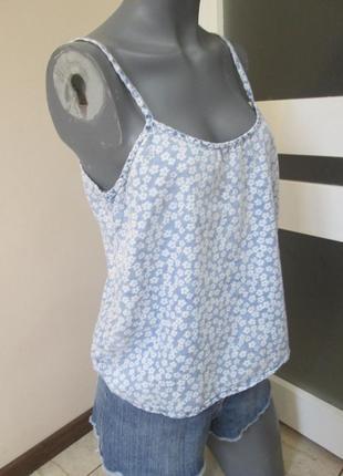 Стильная джинсовая майка блуза на бретелях denim co, р. 10-12