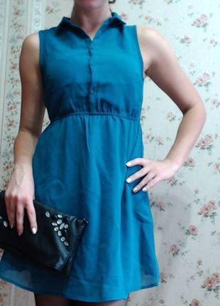 Платье-рубашка цвета морской волны