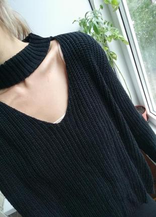 Стильный чёрный свитер кофта вязаная чекер