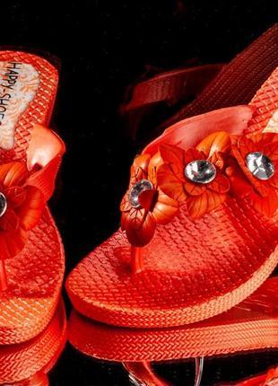Резиновые босоножки - вьетнамки - сандалии оранжевые