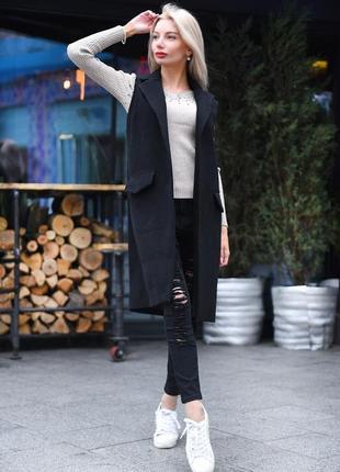 Трендовое пальто жилет без рукавов
