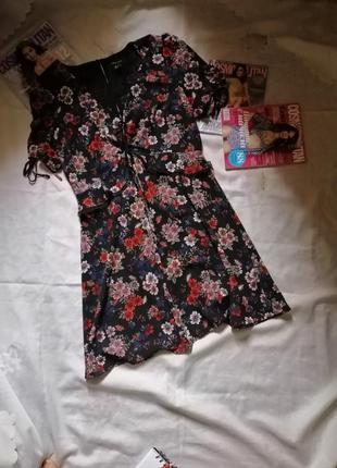 Сарафан - платье с рюшами в принт цветочный