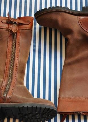 Кожаные длинные осенние сапоги коричневые рыжие (до колена)