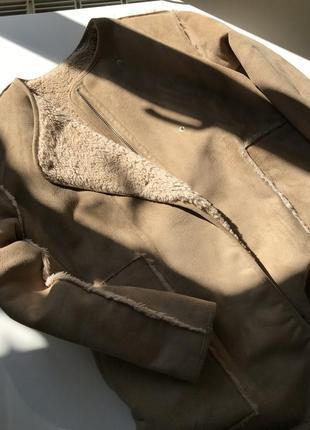Двойная шубка / дубленка pull&bear / пальто / шуба бежевая, песочная