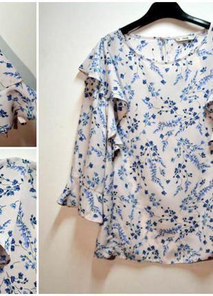 Новая стильная блуза с красивым рукавом в цветы