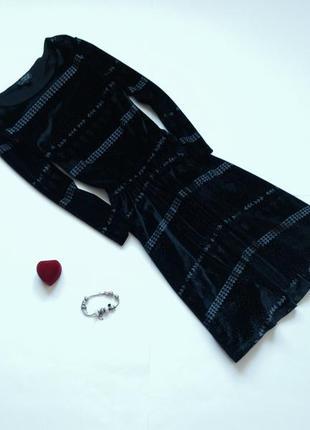 Бархатное платье длинный рукав topshop