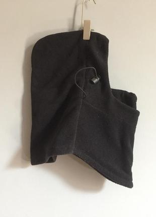 Очень крутая чёрная ( флис ) шапка , балаклава на затяжках