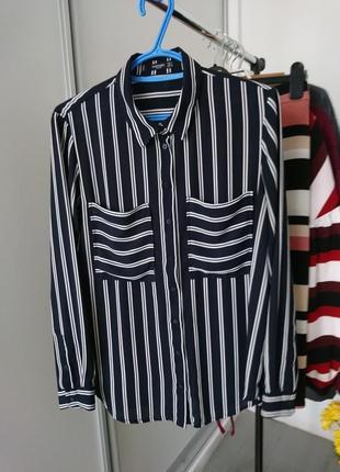 Актуальная шифоновая блуза рубашка в полоску№167