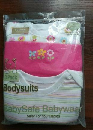 Классный набор бодиков короткий рукав от baby safe из англии