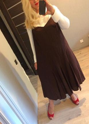 Льняное платье цвет молочный шоколад р.20