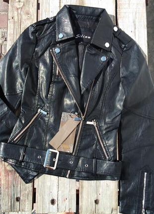 Черная демисезонная осенняя куртка косуха эко-кожа на молнии с -ка и хл