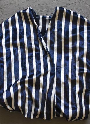 Шикарная бархатная пижама, кимоно из бархата в полоску очень стильная