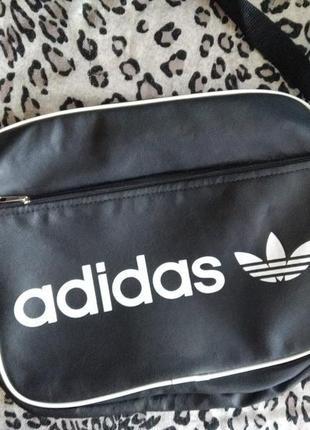 Сумка адидас adidas через плечо почтальон на длинной ручке черная спортивная повседневная