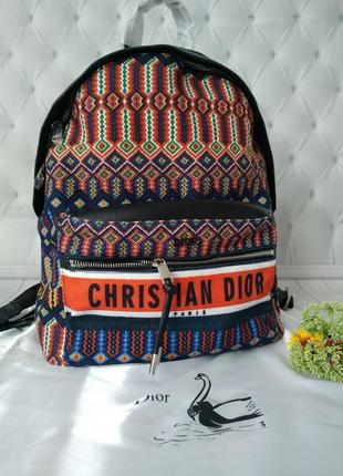Рюкзак женский текстиль мешковина ткань кожа в стиле диор dior