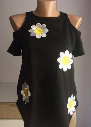 Красивая кофта, блузка в ромашки с оголенными плечами