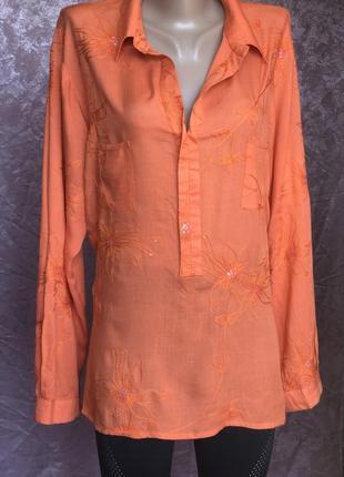 Оранжевая рубашка туника вышивка пайетки beachgold