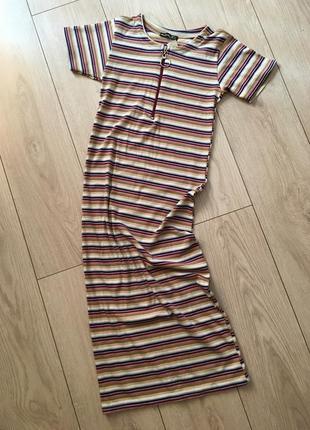 Платье миди рубчик облегающее хлопок полосатое полоска