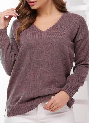 Женский лиловый джемпер/свитер с люрексовой нитью, v образным вырезом и удлиненной спинкой